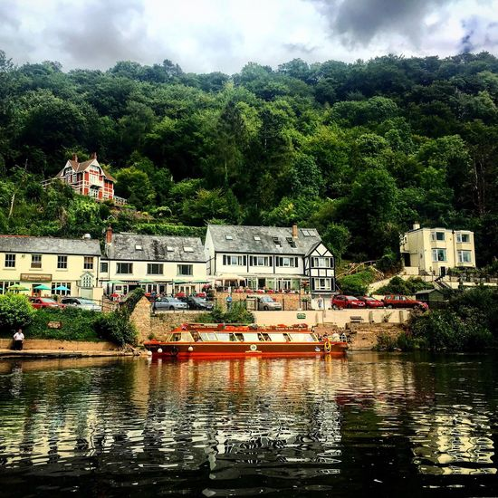 Architecture Built Structure Water Building Exterior Tree Waterfront House Cloud - Sky River Sky Travel Destinations Town Riverbank Green Color Scenics Cloudy Day Nature Tourism Tranquility Symonds Yat Boat Yat Rock