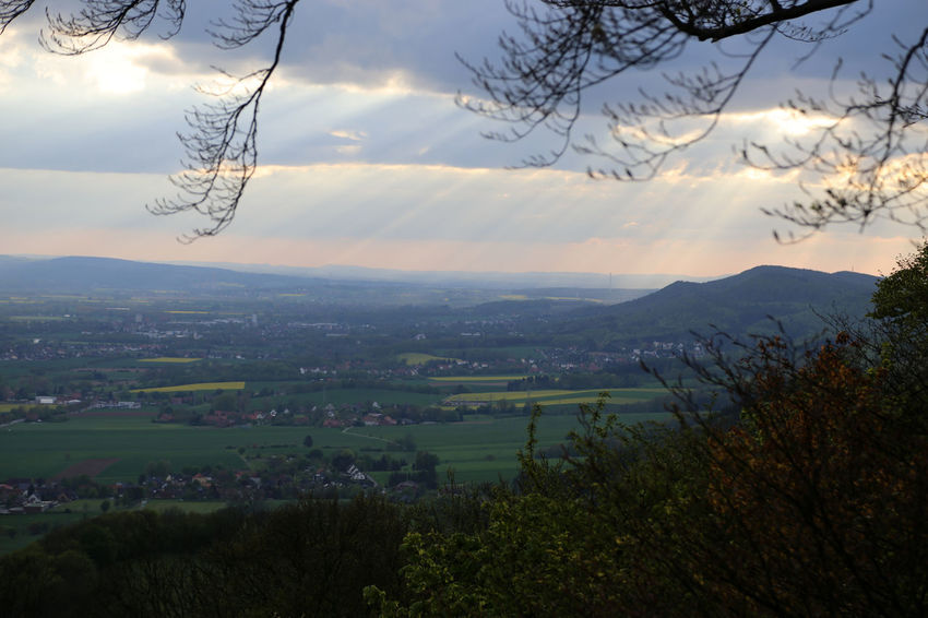 View over the Weser Hills (Weserbergland) from Paschenburg hill. Beauty In Nature Cloud - Sky Day Landscape Mountain Nature No People Outdoors Scenics Sky Sunset Tranquil Scene Tranquility Tree Weserbergland Weser Hills Paschenburg