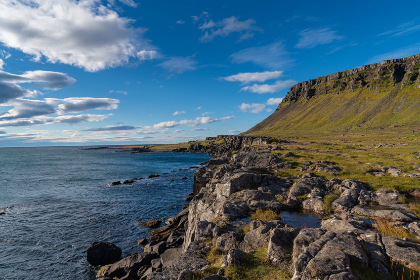 Iceland Beach Beautifuliceland Beauty In Nature Cloud - Sky Fjord Horizon Horizon Over Water Idyllic Land Nature No People Non-urban Scene Outdoors Rock Rock - Object Rock Formation Rocky Coastline Scenics - Nature Sea Sky Solid Tranquil Scene Tranquility Water