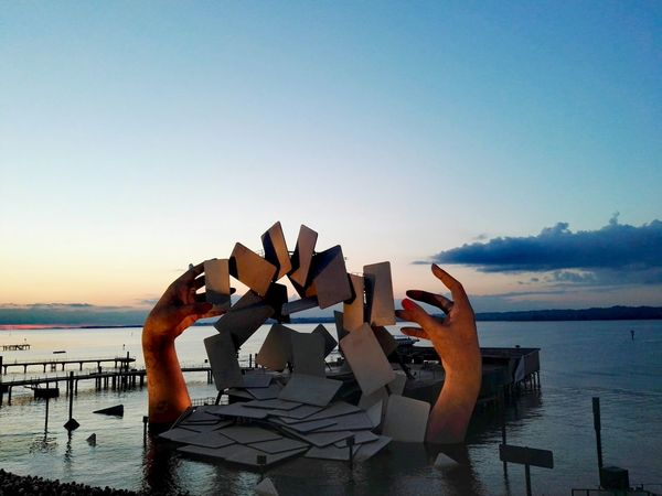 Horizon Over Water Clear Sky Outdoors Human Hand Human Body Part Sunset Openair Stage Carmen Seebühne Bregenz Bodensee Lake Constance