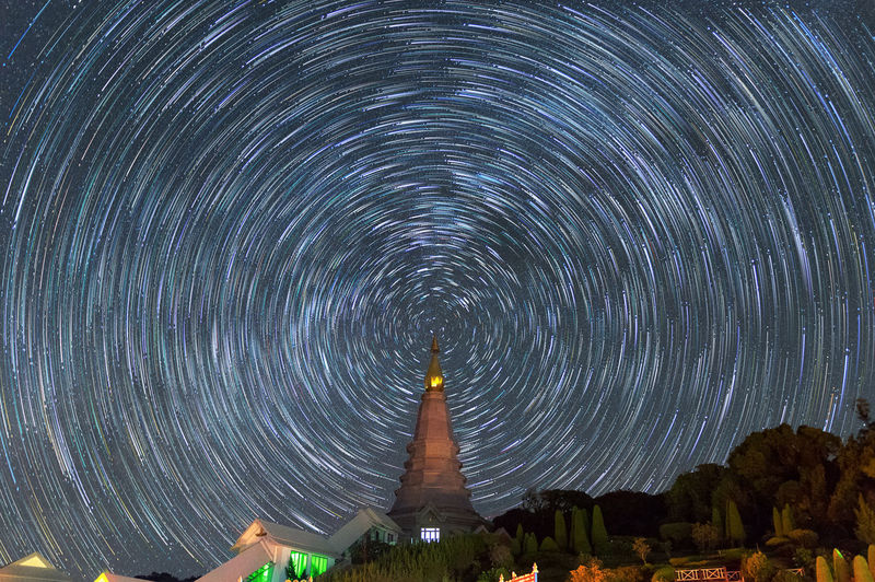 Landmark pagoda in doi Inthanon national park with star trail at Chiang mai, Thailand, Long Exposure with noise. Inthanon Doi MAI Chiang Park National Thailand Pagoda Landmark Landscape Background Mountain Nature Buddhism Stupa Noppha Methanidon-noppha Travel Architecture Building Sunset Traditional Tourist Sky Night Star Stars Trail Dark North Starry Nabhapolbhumisiri Nabhamethanidol Relics Beautiful Blue Astronomy Abstract Black Light Space Top Old Temple Vacation ASIA Tourism Religion Art Thai