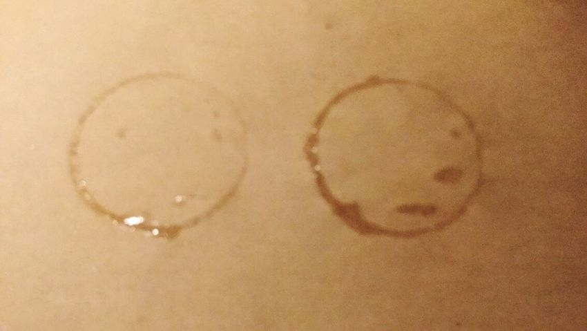 The OO Mission Out To Dinner Drink Cup Ring Water Marks Brown Paper