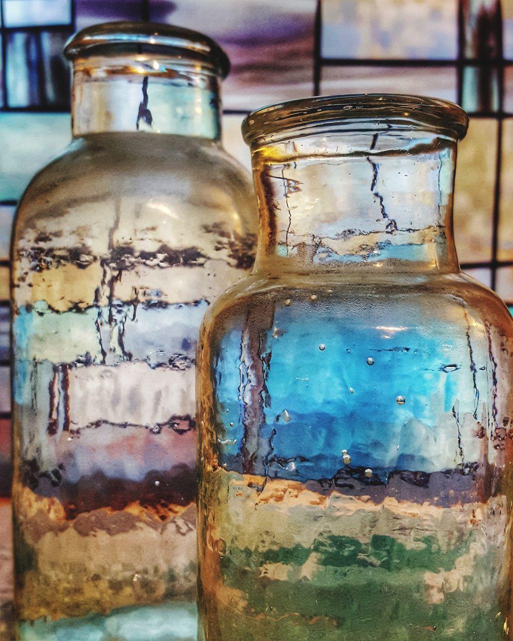 bottle, close-up, no people, jar, indoors, drink, day