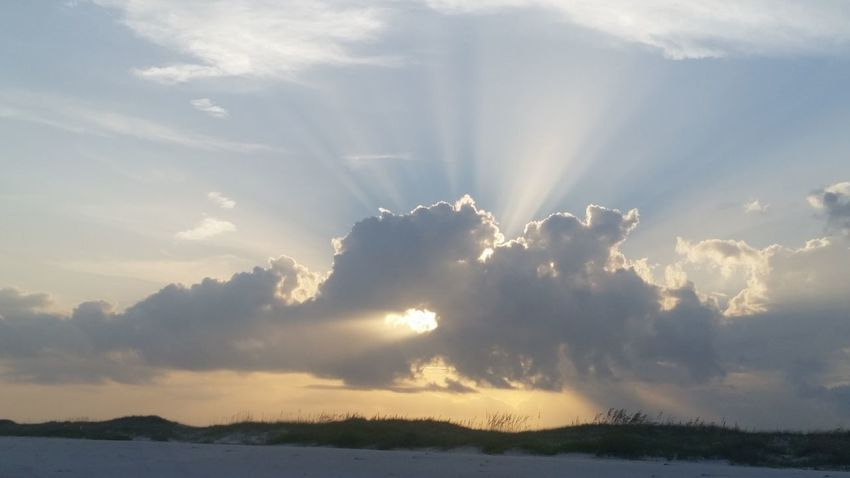 Heaven's Door Sunbeam Cloud - Sky Outdoors Nature Water Sunlight No People Day Beauty In Nature Sky Day's End Silver Lining Photography Silver Lining Beach Beach Photography Dunes Beach Life Scenics Landscape in Perdido Key, Fl. See The Light