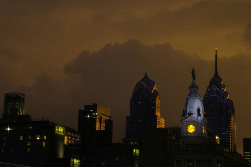 Low Angle View Of Philadelphia City Hall At Night
