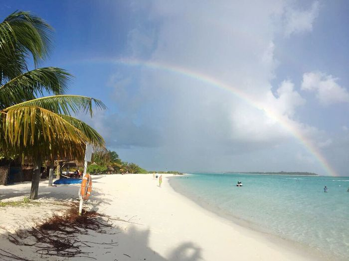 Beach Rainbow Beauty In Nature Nature Cloud - Sky Horizon Over Water Travel Destinations Maldives An Eye For Travel The Traveler - 2018 EyeEm Awards