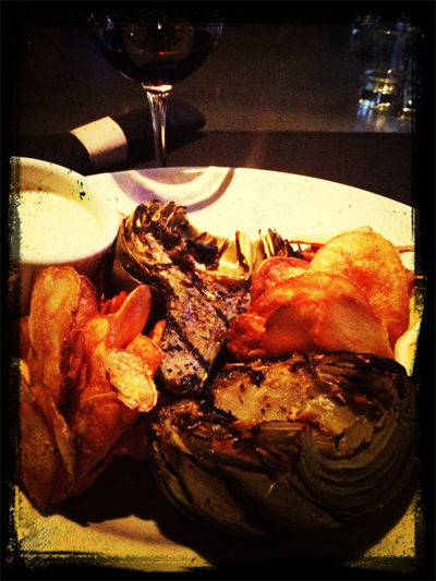 Grilled Artichokes & homemade potato chips