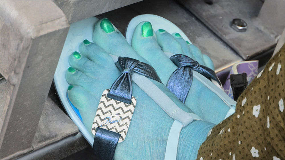 Plastic flip flops, millions of which end of in oceans each year Frozen Feet Open Toed Sandals Close-up Day Green Nail Polish High Angle View No People Outdoors End Plastic Pollution The Fashion Photographer - 2018 EyeEm Awards