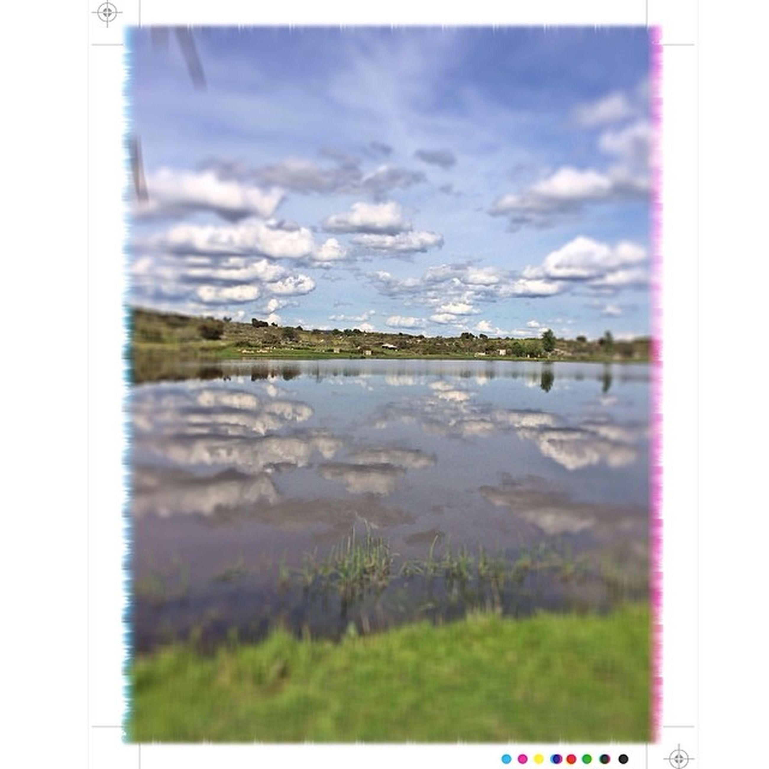 transfer print, auto post production filter, sky, water, lake, tranquil scene, tranquility, scenics, nature, beauty in nature, cloud, plant, reflection, cloud - sky, river, grass, growth, tree, landscape, day