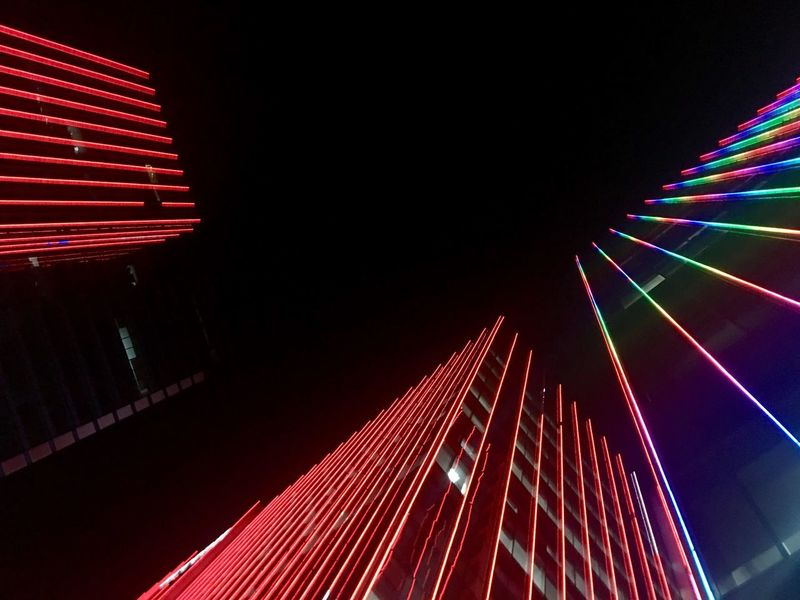 Building lights Illuminated Night Arts Culture And Entertainment Architecture Red Built Structure Glowing No People Multi Colored Building Exterior City Pattern