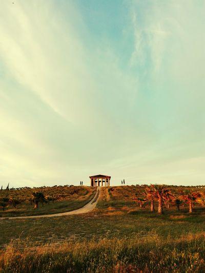 """a los pies de nuestro """"partenon"""" EyeEm Selects Bird Rural Scene Sky Animal Themes Landscape Bale  Haystack Flock Of Sheep"""