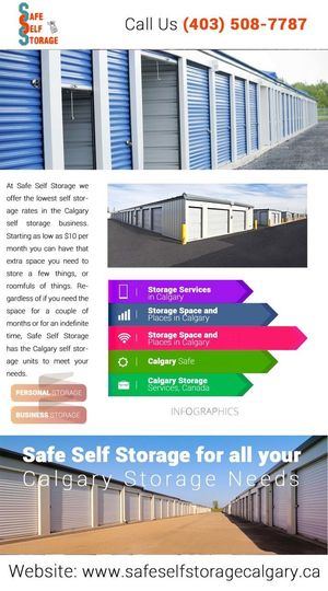 Storage Space and Places in Calgary : Are you planning a vacation, but puzzled about how to present at home and vacation place at the same time to safeguard important belongings and enjoy holidays? Here's the solution – storage space by Safe Self Storage. Based in Calgary, whether you need personal or business storage, we have the best unit to cater & suit your needs. Secure Self Storage Units