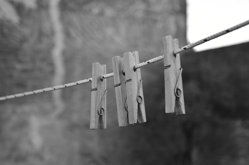 Black & White Daytime Hanging Rope Clothes Peg Clothes Pins Outdoor Wooden Clothespins EyeEmNewHere