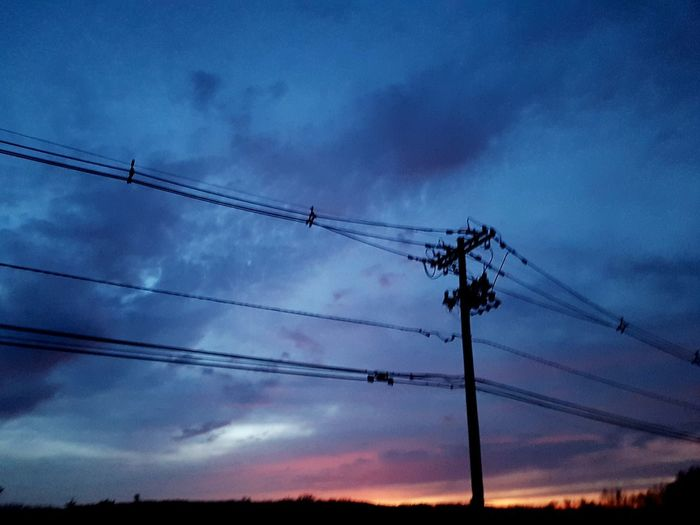 Evening Sky Telephone Line Technology Electricity Pylon Telephone Electricity  Cable Silhouette