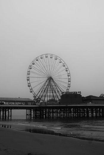 Black And White Black And White Photography Blackpool Blackpool Central Pier Blackpool Promenade Ferris Wheel Fog Foggy Pier Sea Seaside