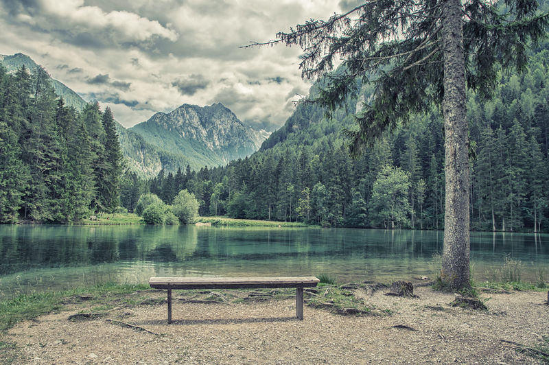 Jezersko EyeEm Nature Lover Filter Retro Slovenia Beauty In Nature Bench Cloud - Sky Day Empty Idyllic Jezersko Lake Mountain Nature No People Non-urban Scene Outdoors Plant Scenics - Nature Seat Sky Tranquil Scene Tranquility Tree Water