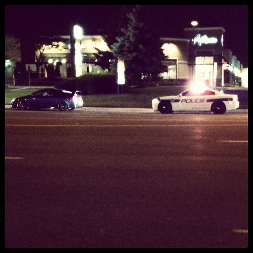 Po-po is out tonight Police Pullover Speeding Flashing  lights street racer night
