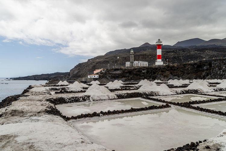 Lighthouse amidst buildings against sky