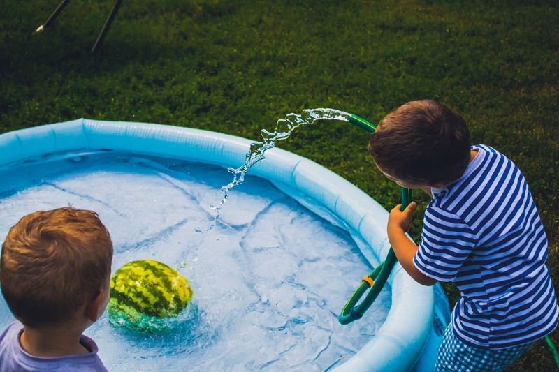 Children and watermelon Pool Watermelon Childhood Child Boys Real People Men Males  Lifestyles Casual Clothing Front Or Back Yard Playing Outdoors Innocence Day Nature Grass Garden Hose Leisure Activity High Angle View Water