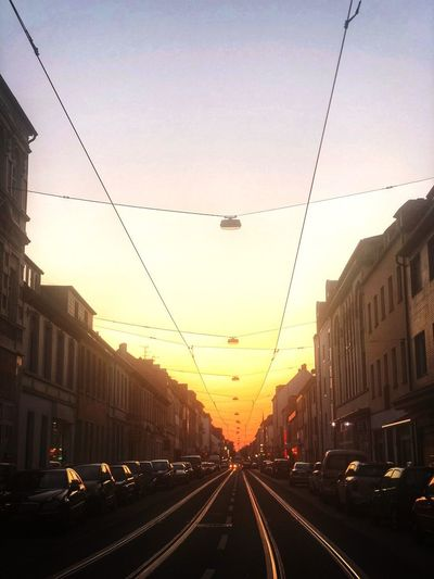 Web Web Krefeld Sunset Building Exterior Built Structure Street Building Direction City Life No People Diminishing Perspective Road Mode Of Transportation Nature The Way Forward My Best Photo