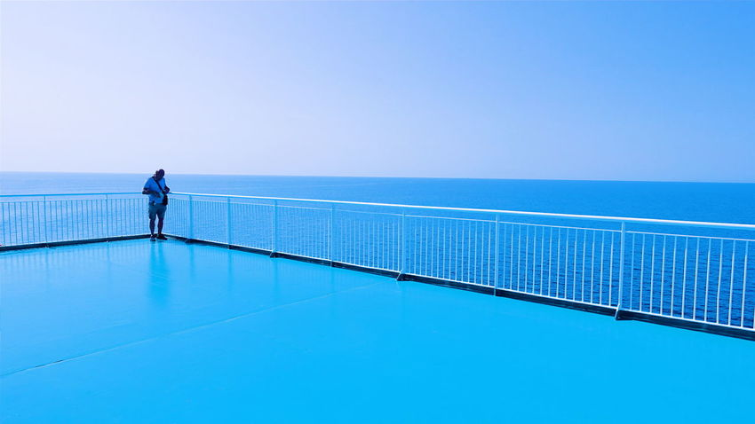 be Adrift in to the Corner Cornered No Way Out Minimalism Rule Of Thirds Keep It Clear And Simple Deceptively Simple Learn & Shoot: Simplicity Learn & Shoot: Leading Lines One Person Touching the Blue/TurquoiseColorphotography Perspective Ferry Deck Horizon Over Water