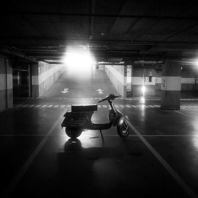 UnderGround Vespa #vespa #underground Illuminated Full Length Architecture Motorcycle Vehicle Parking Motor Scooter Parking Garage