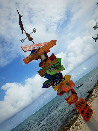 Weather Vane And Directional Sign At Beach