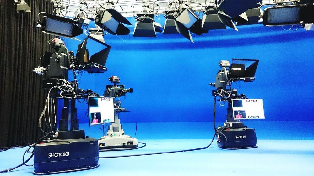 Tvstudio Tvstudio Blue No People Indoors  Ice Rink Day Camera Work Camera Tvstudios Tv_living Tvstation Bluewall Bluewalls