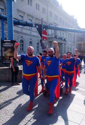 Men Mensfashion Superman Father's Day Full Length Shadow Uniform Occupation City Standing Superhero