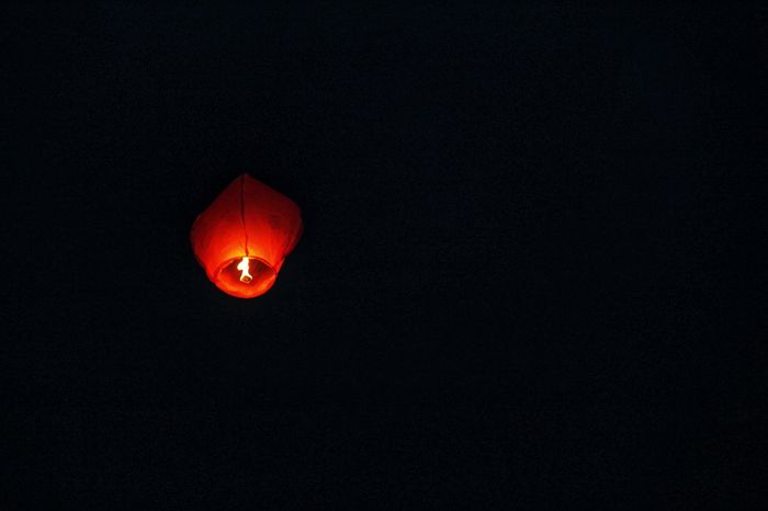 Burning Light Nightphotography Beauty Clear Sky Copy Space Dark Background Illuminated Night No People Outdoors Sky Sky Lantern