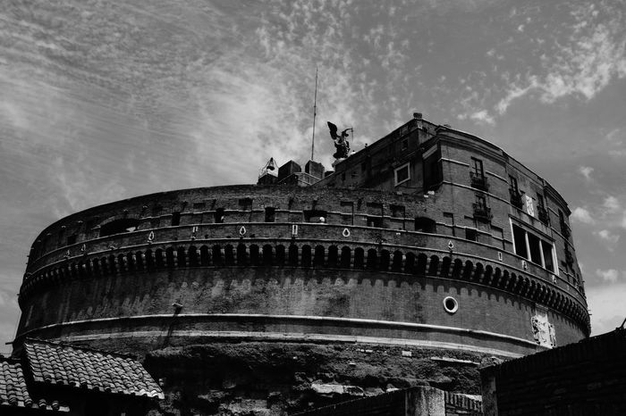 Architecture Black And White Photography Building Exterior Built Structure Day History Italy Low Angle View No People Outdoors Rome Sant'angelo Sky Travel Destinations