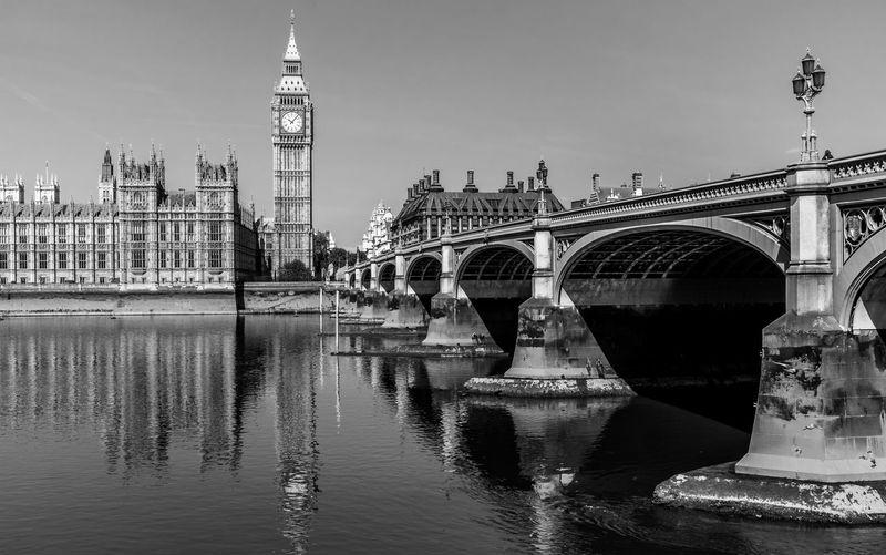 Westminster bridge over thames river in city