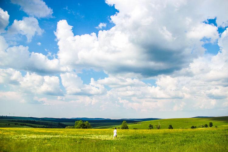 Blue Cloud Clouds Countryside Czech Republic Farm Field Grass Green Landscape Sky Woman