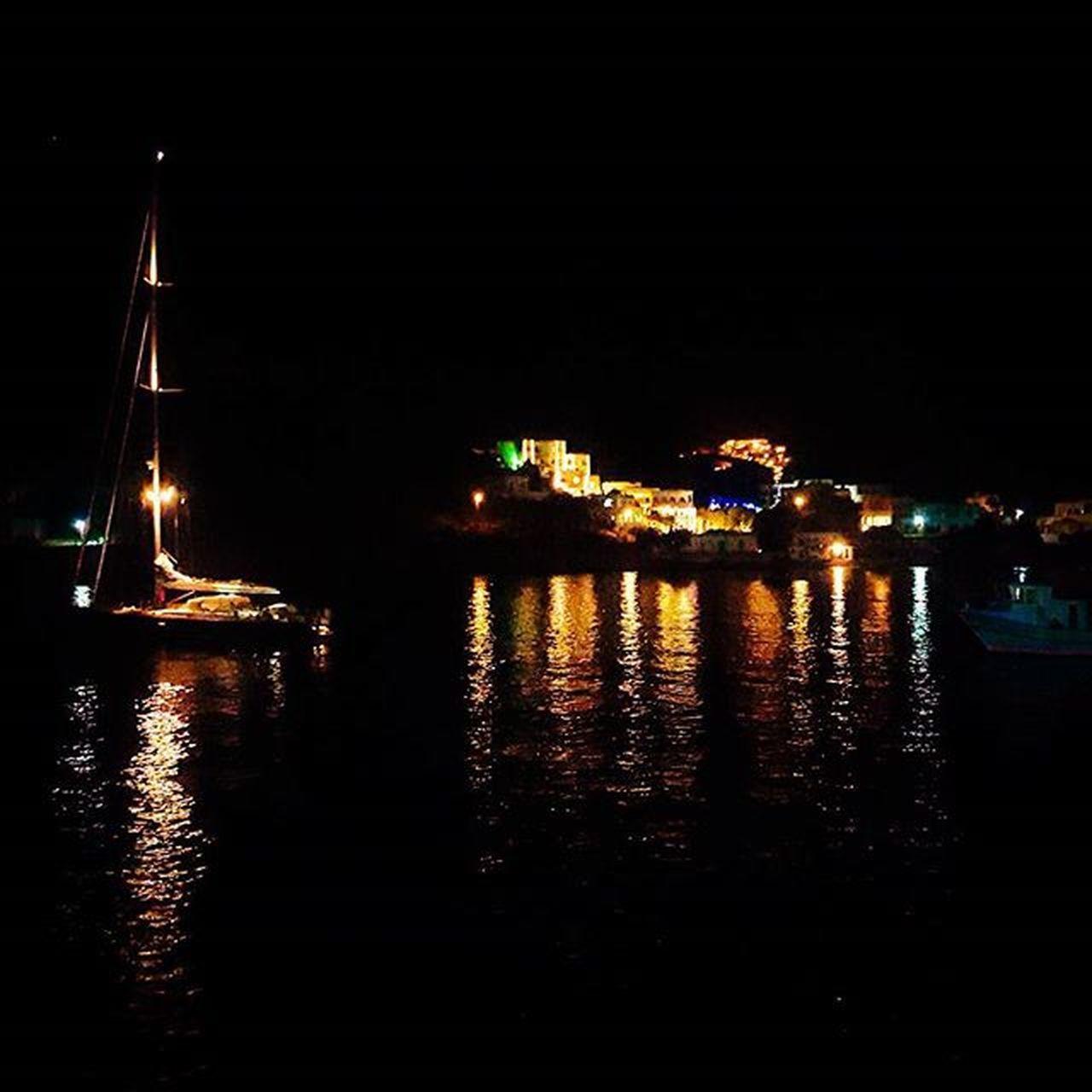 illuminated, night, reflection, nautical vessel, water, no people, transportation, moored, sea, outdoors, city, sky