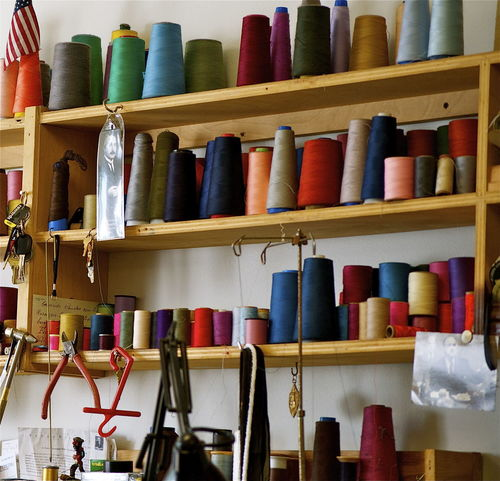 Los Angeles, California Thread Multi Color Colored Thread Tailoring Tailor Sewing Shelves Wood