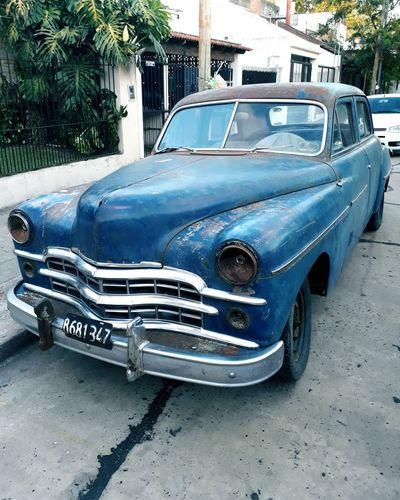 Old-fashioned Blue Land Vehicle Car Vintage Car Vintage Retro Nostalgia