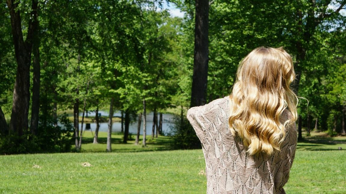 Blonde Female looking at a pond in the distance Adult Adults Only Back Blond Hair Day EyeEm Selects Grass Human Back Lake Long Hair Looking Nature One Person One Woman Only One Young Woman Only Only Women Outdoors People Pond Rear View Tranquility Tree Water Women Young Adult