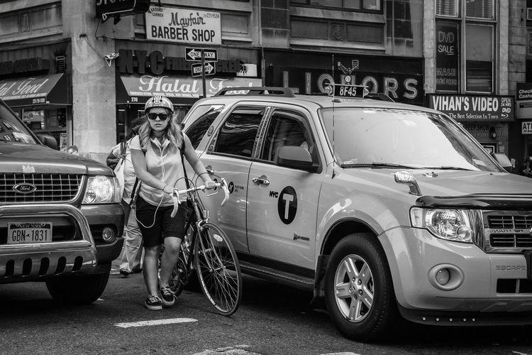 Swerving through traffic. Street Photography Streetphotography NYC Street Photography New York Newyorkcity Manhattan Street Photo Street Life Streetphoto Streetbw New York City Streets