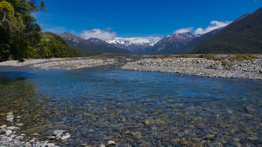 A vew of the Waimakariri River about 10 km east of Arthur's Pass, in New Zealand's South Island Waimakariri River New Zealand Landscape Beauty In Nature Day Landscape Mountain Mountain Range Nature New Zealand No People Outdoors River Scenics Sky South Island Tranquil Scene Tranquility Tree Water Waterfront EyeEmNewHere