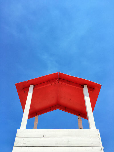 Low Angle View Of Lifeguard Hut