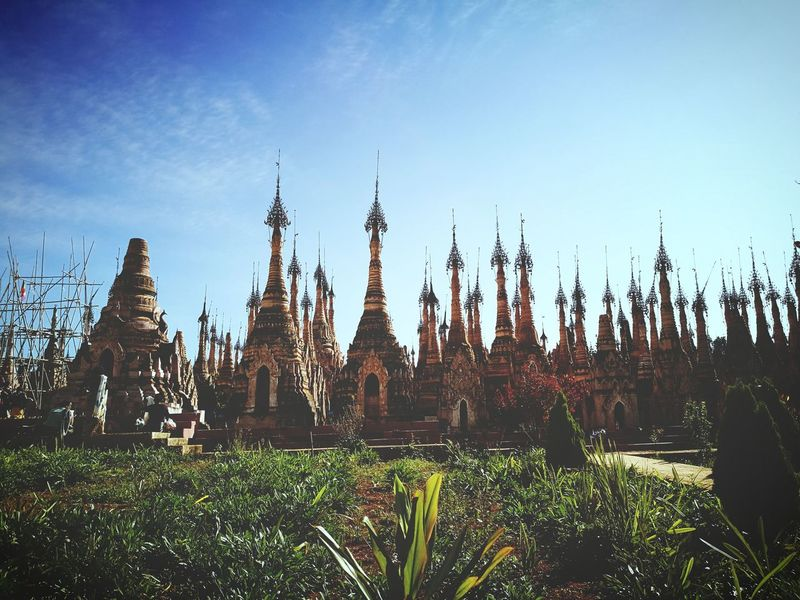 Beautifully Organized Sky Landscape Outdoors Day Myanmar View Myanmarburma Myanmarphotos Burma People PhonePhotography Myanmar Shan State Travel Destinations Tradition Arts Culture And Entertainment Old Architecture Bagoda No People Traveling Home For The Holidays