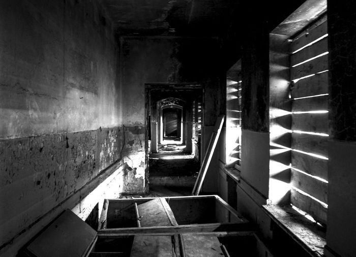 .. what are you looking for? Black & White Doors EyeEmNewHere Light In The Dark Abandoned Architecture Corridor Indoors  Lights And Shadows Old Tunnel Windows