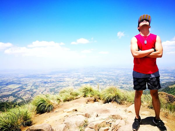You'll be on top before y out new it. Summit Mount Batulao Nasugbu, Batangas Philippines Summer Exploratorium Standing Full Length Men Summer Portrait Sand Sunglasses Sky Hiker Flexing Muscles Arm Band Human Muscle Running Shorts Horizon Over Water Bicep