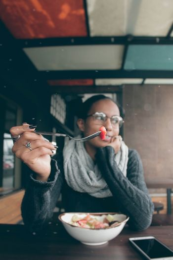 Foodie Photography EyeEm Best Shots Portrait Of A Woman Visual Creativity Food Beauty Food And Drink Eating Young Women Portrait Domestic Room Women Bar - Drink Establishment Happiness Bowl Table Close-up