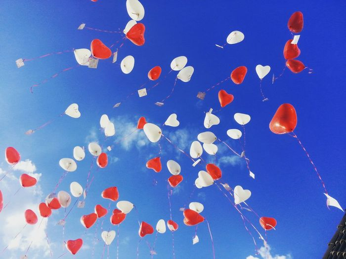 Luftballons Blue Heart Shape Large Group Of Objects Multi Colored Celebration No People Sky Day Outdoors Luftballon Balloons Blue Sky Love Wedding Dreams Make A Wish Wish Wishes Make A Wish Red Balloons White Balloons