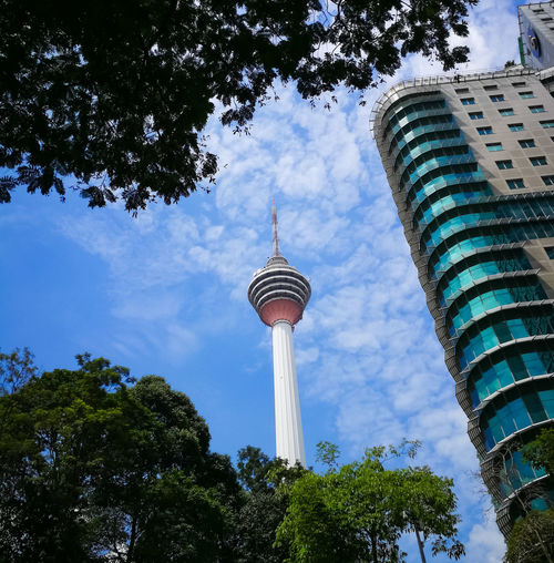 Tree Architecture Tall - High Low Angle View Built Structure Sky Travel Destinations Cloud - Sky Outdoors Building Exterior Day Communication Growth No People Nature City Malaysia Kuala Lumpur Tower KL TOWER