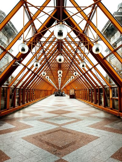 PLAY WITH THE PERSPECTIVE Bridge Perspective Dark Darkmoody The Architect - 2018 EyeEm Awards Architecture Built Structure Covered Bridge The Way Forward Empty Road Treelined Footbridge Double Yellow Line Walkway Ceiling Architectural Design Passageway Pathway Diminishing Perspective vanishing point Archway Arch Skylight Historic Narrow Chandelier