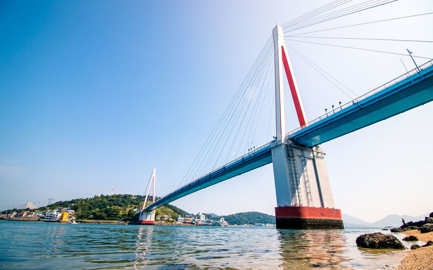 Low angle view of suspension bridge over river against clear sky