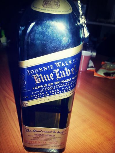 At the office Johny Walker Blue Label Whiskey Drinking