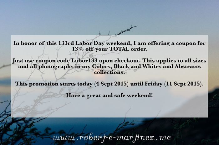Ladies and Gentlemen, in honor of this 133rd Labor Day weekend, I am offering a coupon for 13% off your TOTAL order. Just use coupon code Labor133 upon checkout. This applies to all sizes and all photographs in my Colors, Black and Whites and Abstracts collections. This promotion starts today (4 Sept 2015) and ends on Friday (11 Sept 2015). Have a great and safe weekend! Soaking Up The Sun Laborday Eye4photography  Walking Around Beachphotography Nightphotography Oahu, Hawaii People Watching Hugging A Tree EyeEm Best Shots - Sunsets + Sunrise